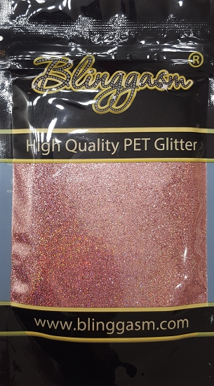 Holographic Solvent Resistant Blinggasm Polyester Glitter 3.5 oz By Weight .008 Or .015 Choose Size From Menu #21 LB911 MEMORABLE ROSE
