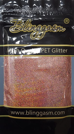 Holographic Solvent Resistant Blinggasm Polyester Glitter 3.5 oz By Weight .008 Or .015 Choose Size From Menu #22 LB911A ROSE GOLD
