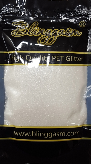 Metallic Solvent Resistant Blinggasm Polyester Glitter 3.5 oz By Weight .008 Or .015 Choose Size From Menu #62 B01100 PURE WHITE