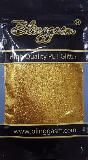Metallic Solvent Resistant Blinggasm Polyester Glitter 3.5 oz By Weight .008 Or .015 Choose Size From Menu #3 B0202 GOLD