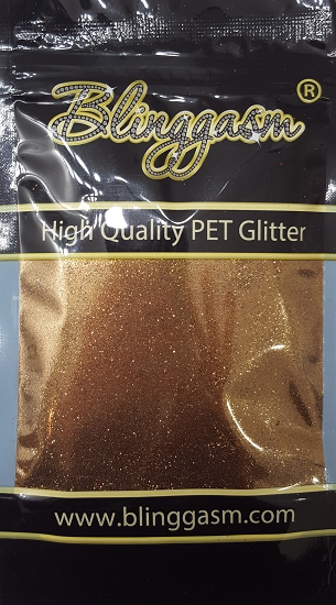 Metallic Solvent Resistant Blinggasm Polyester Glitter 3.5 oz By Weight .008 Or .015 Choose Size From Menu #27 B0415 GOLD COFFEE
