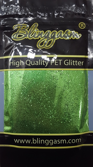 Metallic Solvent Resistant Blinggasm Polyester Glitter 3.5 oz By Weight .008 Or .015 Choose Size From Menu #32 B0609A CRYSTAL GREEN