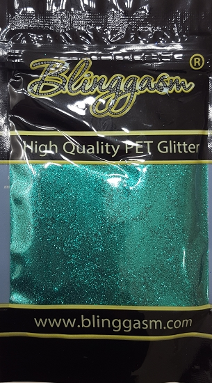 Metallic Solvent Resistant Blinggasm Polyester Glitter 3.5 oz By Weight .008 Or .015 Choose Size From Menu #39 B0700  EMERALD BLUE