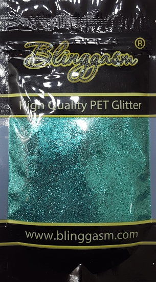 Metallic Solvent Resistant Blinggasm Polyester Glitter 3.5 oz By Weight .008 Or .015 Choose Size From Menu #40 B0702 AQUA