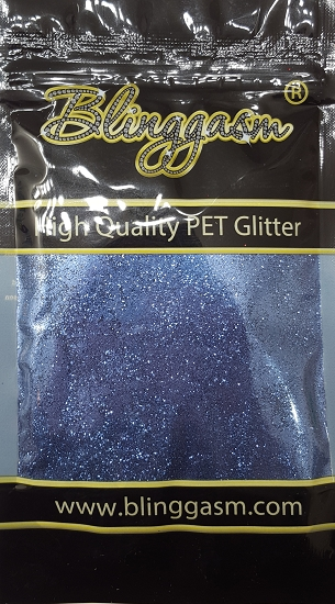 Metallic Solvent Resistant Blinggasm Polyester Glitter 3.5 oz By Weight .008 Or .015 Choose Size From Menu #44 B0709 LAKE BLUE