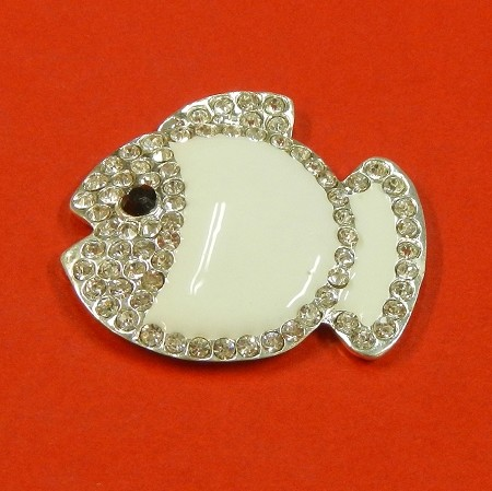 White Fish With Rhinestones And Enamel Accents Embellishment