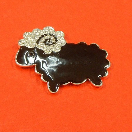 Black Sheep With Rhinestones And Enamel Accents Embellishment
