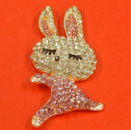 Bunny With Rhinestones Accents  Embellishment