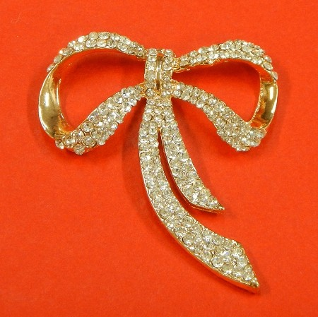 Large Bow With Rhinestones Accents Embellishment