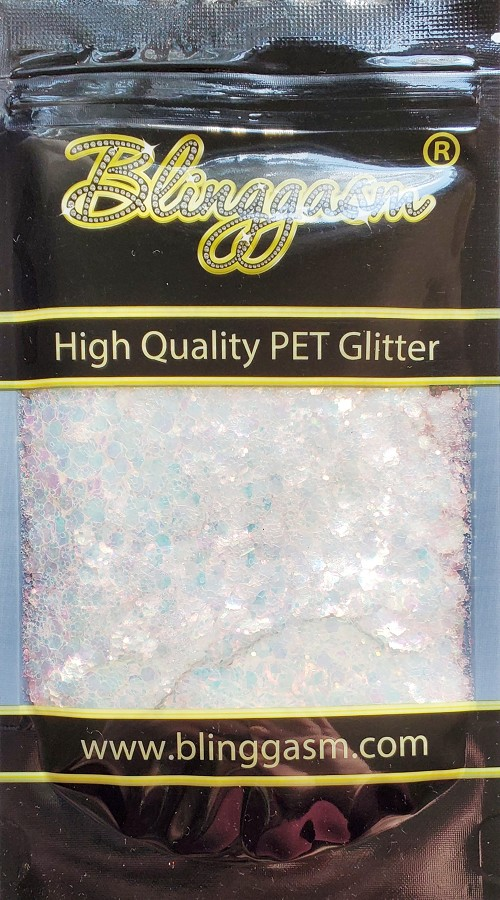 Chunky Mix Solvent Resistant Blinggasm Polyester Glitter 1.75 oz By Weight  #1 FC321 PEARL FLUORESCENT