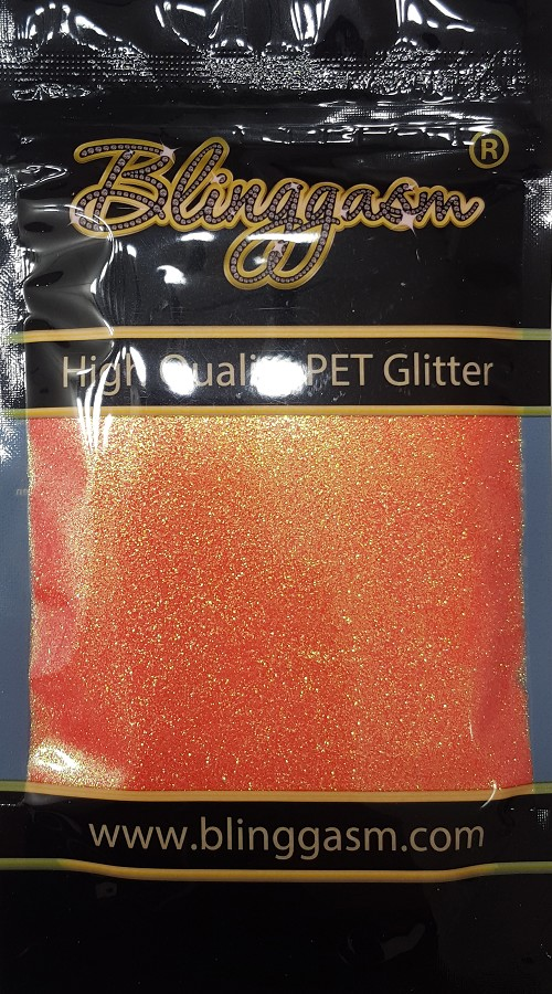 Fluorescent Solvent Resistant Blinggasm Polyester Glitter 3.5 oz By Weight .008 Or .015 Choose Size From Menu #7 FC334 CORAL