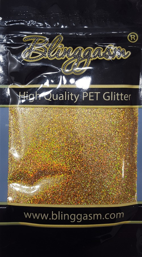 Holographic Solvent Resistant Blinggasm Polyester Glitter 3.5 oz By Weight .008 Or .015 Choose Size From Menu #2 LB200 GOLD