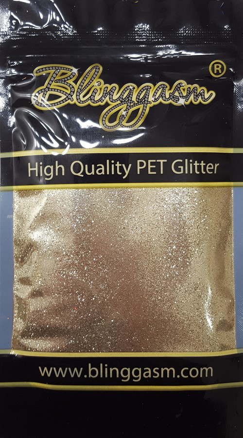 Metallic Solvent Resistant Blinggasm Polyester Glitter 3.5 oz By Weight .008 Or .015 Choose Size From Menu #12 B0215 METALLIC GOLD