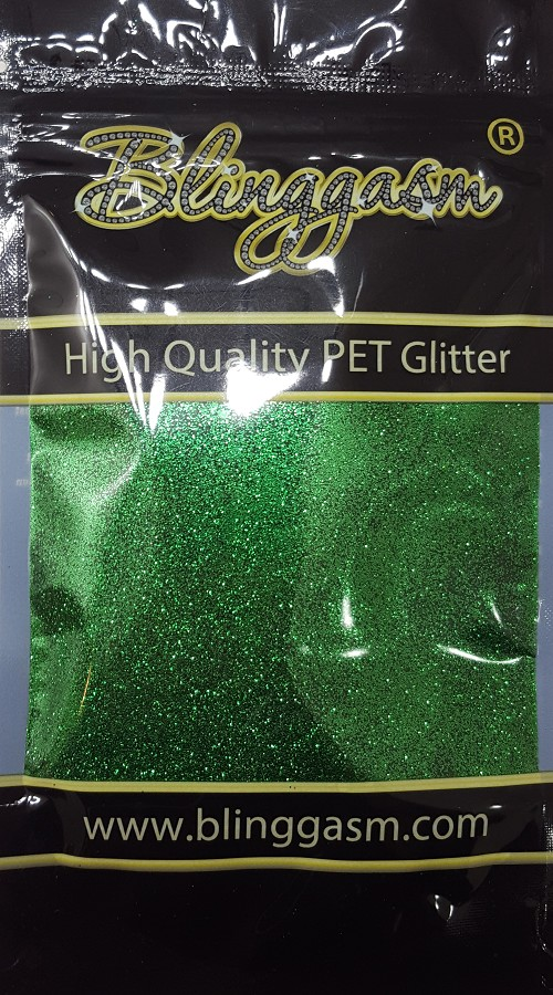 Metallic Solvent Resistant Blinggasm Polyester Glitter 3.5 oz By Weight .008 Or .015 Choose Size From Menu #31 B0609 CHRISTMAS GREEN