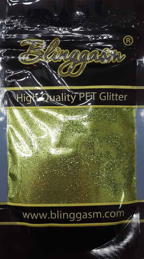 Metallic Solvent Resistant Blinggasm Polyester Glitter 3.5 oz By Weight .008 Or .015 Choose Size From Menu #34 B0612 OLIVE GREEN